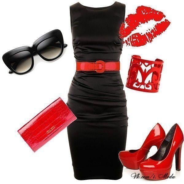 Черное платье и красные туфли