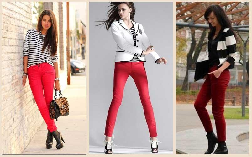 С чем одевать красные брюки фото