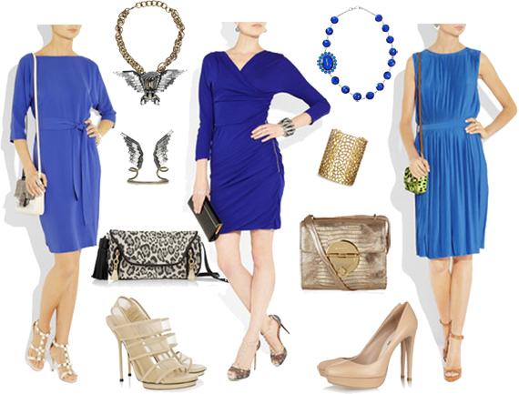 Какие аксессуары подобрать к синему платью