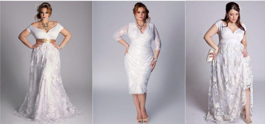 Фото свадебных платьев для полных коротких
