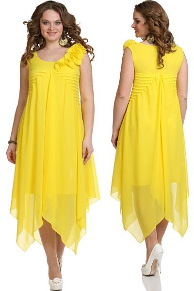 Платья с отрезным лифом для полных