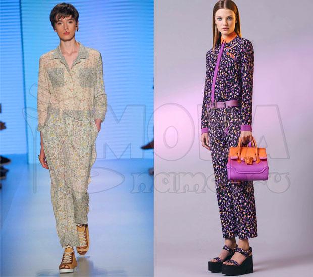Комбинезон женский летний с брюками: Цветочный принт 56